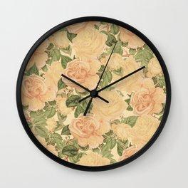 Cream Roses : Vintage Pattern Series Wall Clock