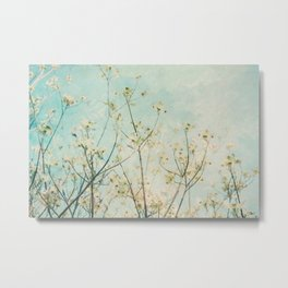 White Dogwood Tree Spring Flower Branches Painterly Metal Print