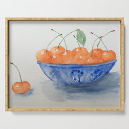 Cherries in a blue vase by Sirena Sana Serving Tray