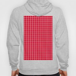 Red with White Grid Hoody