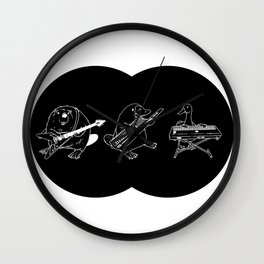 Keytar Platypus Venn Diagram Black and White Wall Clock