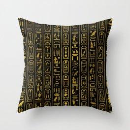 Egyptian Ancient Gold hieroglyphs on black Throw Pillow