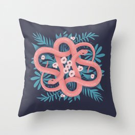 Pink Snakes Throw Pillow