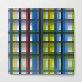 colorful striking retro grid pattern Nis Metal Print
