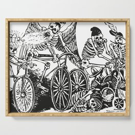 Calavera Cyclists | Day of the Dead | Dia de los Muertos | Skulls and Skeletons | Vintage Skeletons | Black and White |  Serving Tray
