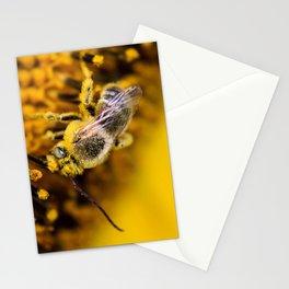 Bee enjoying a sunflower Stationery Cards