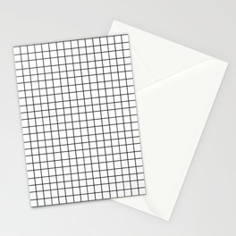 Black and White Grid Pattern Stationery Cards
