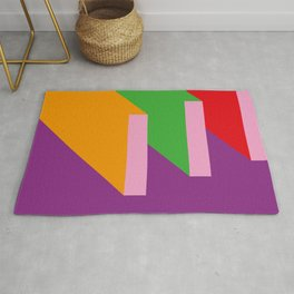 Parallelepipeds thrown in a purple sky Rug