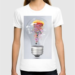 Electric Jellyfish Worlds in  a Ligtbulb T-shirt