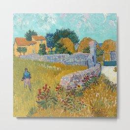 Fun Neck Gaiter Vincent Van Gogh Farmhouse in Provence Neck Gator Metal Print