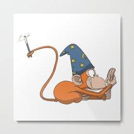 Magician Monkey Knee Head Yoga Pose Metal Print