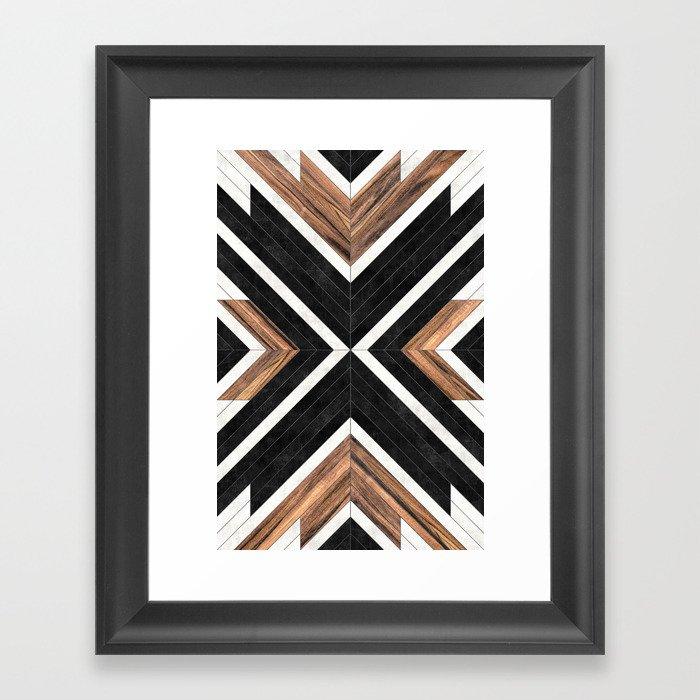 Urban Tribal Pattern No.1 - Concrete and Wood Gerahmter Kunstdruck