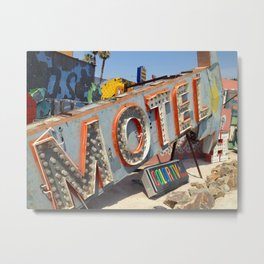 Vintage Neon Sign - Motel Metal Print
