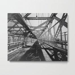 Williamsburg graffiti bridge to New York Manhattan | NYC architecture and lines | Travel city photography Metal Print