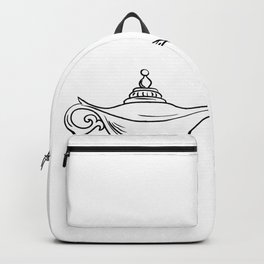 Genie Coming Out of Oil Lamp Black and White Drawing Backpack