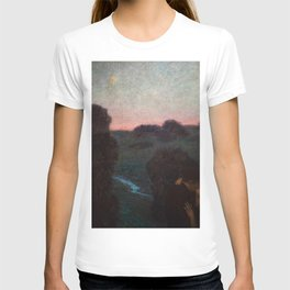 The Romantic Lovers Kissing under the Evening Star by Franz von Stuck T-shirt