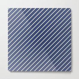 Blue Diagonal Lines Metal Print