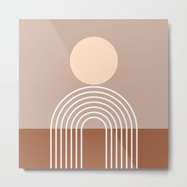 Geometric Lines in Terracotta Brown Beige (Sun and Rainbow abstraction) Metal Print