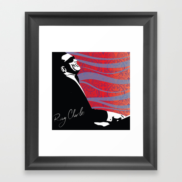 Retro Graffiti Ray Charles Jazz Poster Framed Art Print by Sassanfilsoof FRM890496