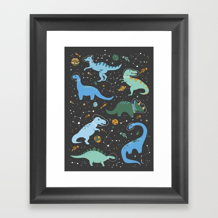 Dinosaurs in Space in Blue Gerahmter Kunstdruck