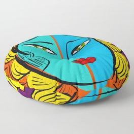 Orange Pop Girl Portrait Illustration Floor Pillow