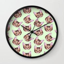 Cute Kitty Cat  Pattern Wall Clock
