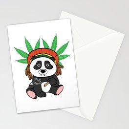 Panda High Black & White Stoned Pot 420 Kush Ganja Cannabis Weed Marijuana Smoke T-shirt Design Stationery Cards