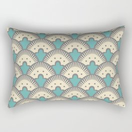 Fan Pattern Gray and Turquoise 991 Rectangular Pillow