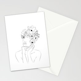 Dame fleur-Floral Illustration Woman, got the idea Stationery Cards