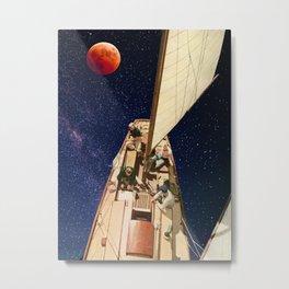 Sailing under the Blood Moon Metal Print
