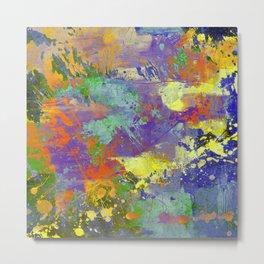 Signs Of Life - Vibrant, random paint splatter multi coloured abstract Metal Print