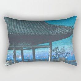 Kawase Hasui - Travel Souvenir Third Collection, Osaka, Kozu - Digital Remastered Edition Rectangular Pillow