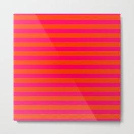Orange Pop and Hot Neon Pink Horizontal Stripes Metal Print