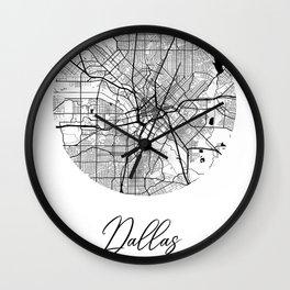 Dallas Area City Map, Dallas Circle City Maps Print, Dallas Black Water City Maps Wall Clock