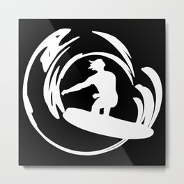 Surfer Silhouette White Metal Print