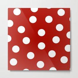 Polka Dots - Mordant Red and White Metal Print