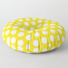 Yellow and White Polka Dots 772 Floor Pillow