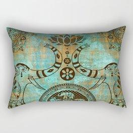 Elephants Lotus Flower Mandala Indian Spiritual Bohemian Zen Meditation Rectangular Pillow