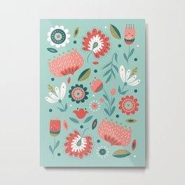 Folk Art Florals in Mint Metal Print