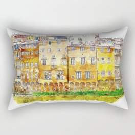 Aquarelle sketch art. View of the historic buildings in Florence. Reflection in the river Rectangular Pillow