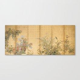 Japanese Edo Period Six-Panel Gold Leaf Screen - Spring and Autumn Flowers Leinwanddruck