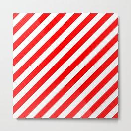Diagonal Stripes (Red & White Pattern) Metal Print