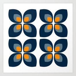 Minimal Art Mid Century Modern Leaf Flower Pattern Blue and Orange Art Print
