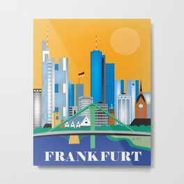 Frankfurt, Germany - Skyline Illustration by Loose Petals Metal Print