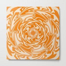 70s Retro Abstract Orange spiral Metal Print
