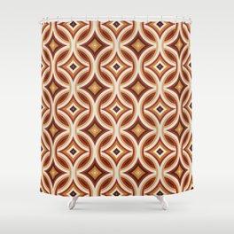 Brown, Orange, and Ivory Circular Geometric Retro Pattern Shower Curtain