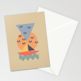 abstract art sea sunset view Stationery Cards
