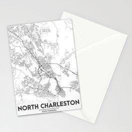 Minimal City Maps - Map Of North Charleston, South Carolina, United States Stationery Cards