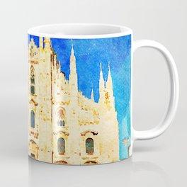 Duomo di Milano, Milan Dome Watercolor with Blue Sky Coffee Mug