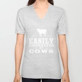 Easily Distracted By Cows Funny Cow Desi Unisex V-Neck